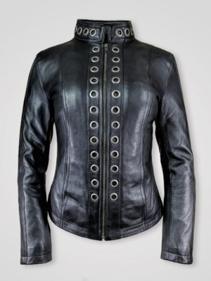 STUNNING BLACK BIKER LEATHER JACKET FOR WOMEN