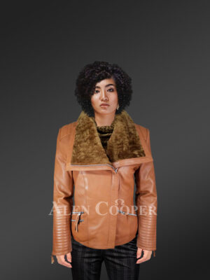 Stunning Tan Italian Leather Jacket with Shearling Collar for Women new