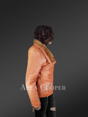Stunning Tan Italian Leather Jacket with Shearling Collar for Women new side view