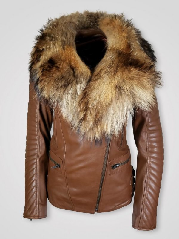 TAN COLORED SLIM FIT WOMEN'S JACKET WITH FUR COLLAR