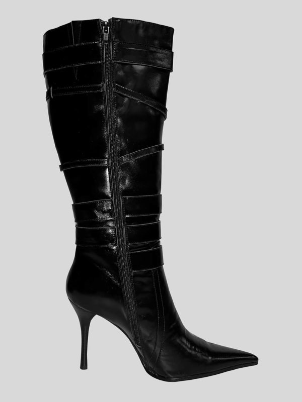 Tigris heeled black boot for women side view