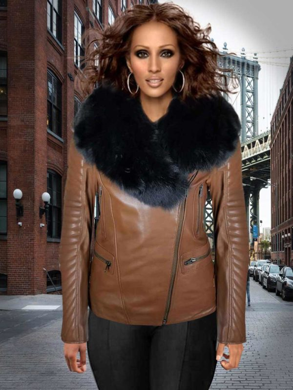 WOMEN'S ASSYMETRICAL MOTORCYCLE BIKER JACKET IN TAN WITH ZIPOUT COLLAR & DETACHABLE FOX FUR COLLAR