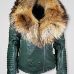 WOMEN'S FUR COLLAR STYLISH LEATHER JACKET