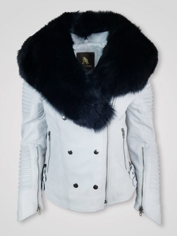 WOMEN'S MOTO JACKET WITH ITALIAN LEATHER FINISH AND DETACHABLE FOX FUR COLAR