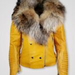 WOMEN'S MOTO JACKET WITH ITALIAN LEATHER FINISH AND DETACHABLE FOX RACCOON COLLAR