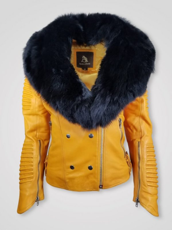 WOMEN'S MOTO JACKET WITH ITALIAN LEATHER FINISH AND DETACHABLE FOX FUR COLLAR