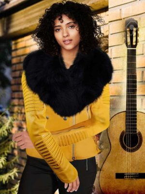 WOMEN'S MOTORCYCLE BIKER JACKET WITH DETACHABLE FOX FUR COLLAR AND PIPED SLEEVES IN YELLOW