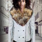 WOMEN'S MOTORCYCLE BIKER JACKET WITH DETACHABLE RACCOON FUR COLLAR AND PIPED SLEEVES IN WHITE