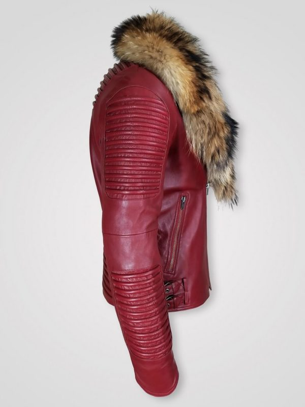 Wine Colored Leather Jacket with Real Fur Collar for Men Side view