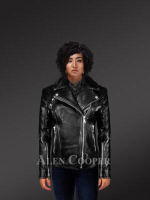 Women's Motorcycle Biker Jacket in Black new