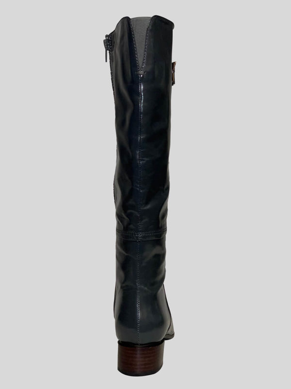 Women's tall black leather everyday wear boot with zipper closure backside view
