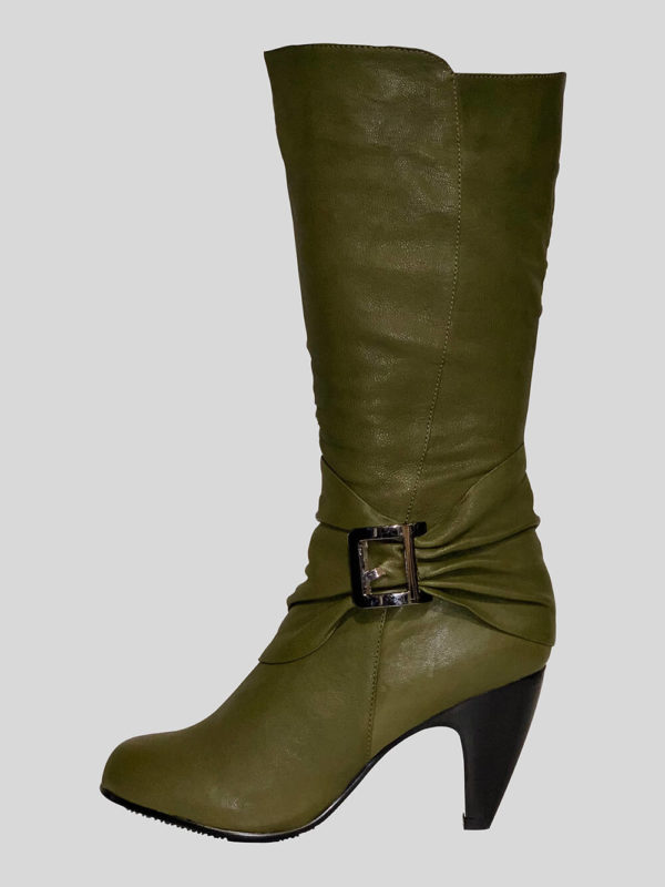 Women's unique regular greenish brown leather boot
