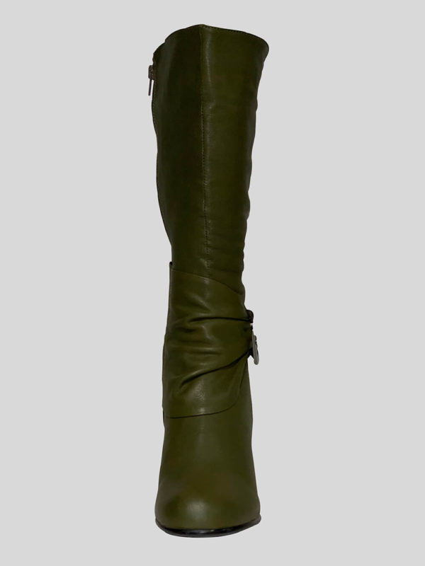 Women's unique regular greenish brown leather boot Front view
