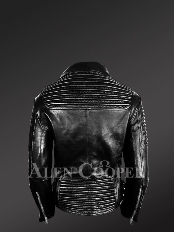 Women's Motorcycle Biker Jacket with Piped Sleeves in Black back side view