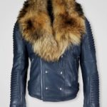 PURE LEATHER JACKET WITH FUR COLLAR FOR MEN