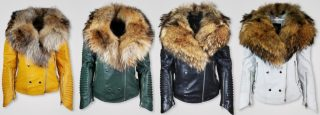 COLORED LEATHER JACKET WITH REAL RACCOON COLLAR FOR WOMEN