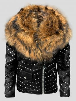 Real leather down biker jacket with raccoon fur collar