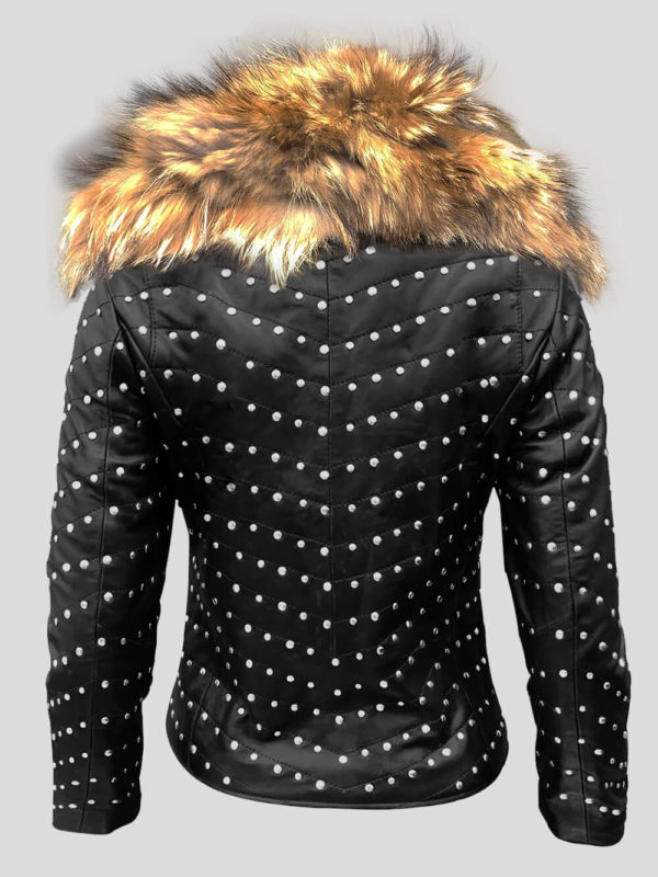 Real leather down biker jacket with raccoon fur collar backside view