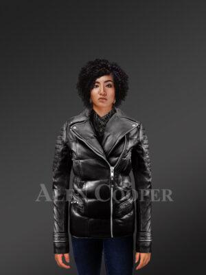 Women's Quilted Black Motorcycle Biker Jacket - Alen Cooper