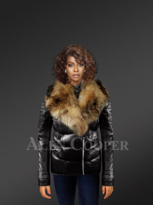 Women's Quilted Black Motorcycle Biker Jacket with Detachable Raccoon Fur Collar new