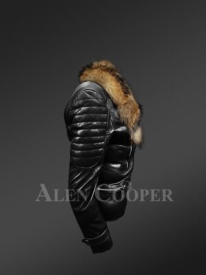 Women's Quilted Black Motorcycle Biker Jacket with Detachable Raccoon Fur Collar new side view