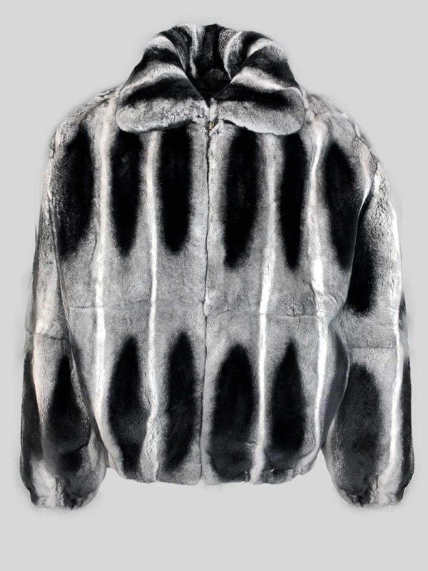 Bi-color stylish real fur jacket