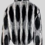 Bi-color stylish real fur jacket Backside view