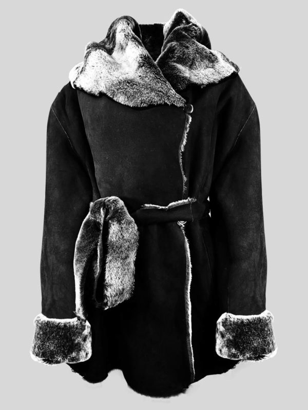 Black colored pure shearling coat with over-sized shawl collar