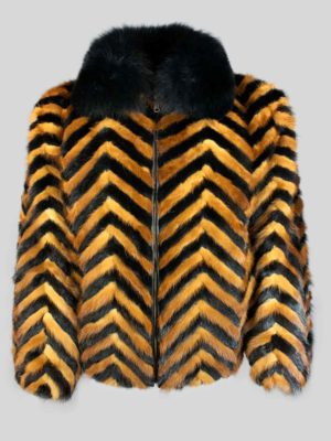 Black whisky zigzag real fur winter jacket