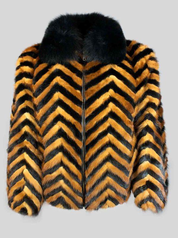 Black whisky zigzag real fur winter jacket
