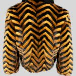 Black whisky zigzag real fur winter jacket Backside view