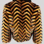 Black whisky zigzag real fur winter jacket Backside view