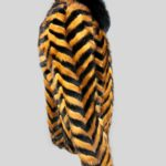 Black whisky zigzag real fur winter jacket Side view