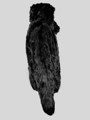 Comfortable black fur winter outerwear Side view