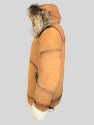 Cowboy styled real shearling winter outerwear with hood Side view