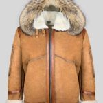 Cowboy styled real shearling winter outerwear with hood jacket