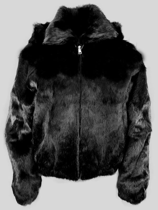Eskimo styled black 100% real fur winter outerwear