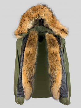 Greenish real leather jacket with long fur collar and hood