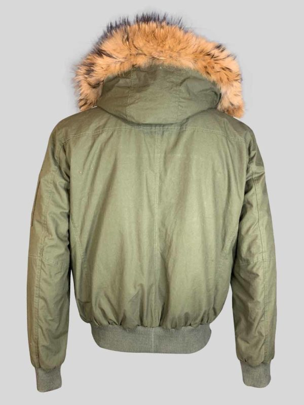 Greenish real leather jacket with long fur collar and hood back side view