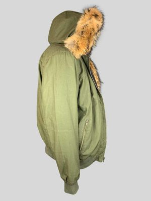Greenish real leather jacket with long fur collar and hood side view