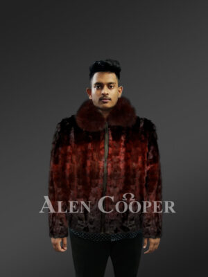 Men's Diamond Sheared Two Tone burgundy Mink Fur Bomber with Fox Fur Collar