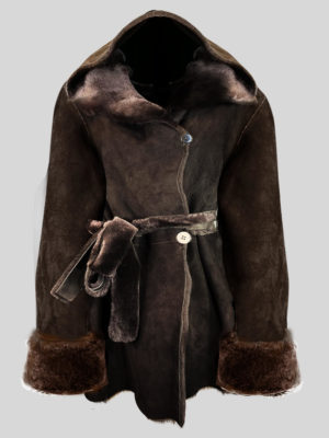 Over-sized shawl collar real shearling coat