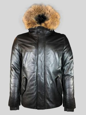 Puffy leather jacket with stylish fur trim hood