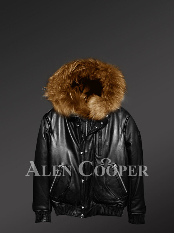 Real leather bomber jackets with real fur collar new view
