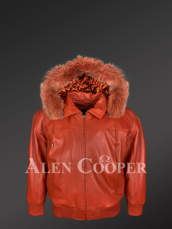 Rust color real leather jacket with real fur hood for mens new