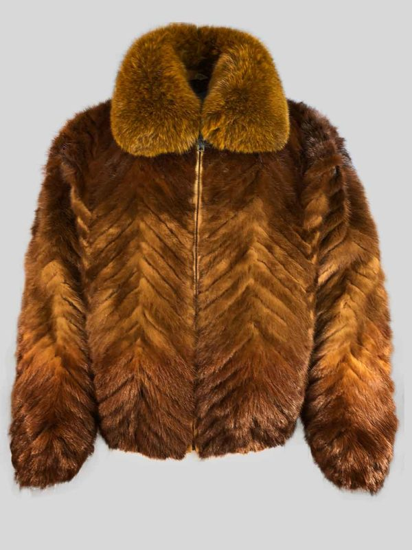 STYLISH BI-COLOR REAL FUR JACKET WITH COLLAR