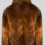 STYLISH BI-COLOR REAL FUR JACKET WITH COLLAR Back side view