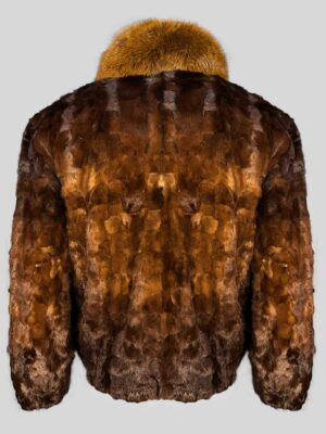 Stylish-bi-color-real-fur-jacket-with-collar-Backside-view-New