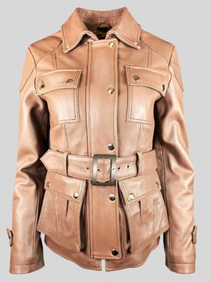 Tan colored real leather jacket with stand collar for women