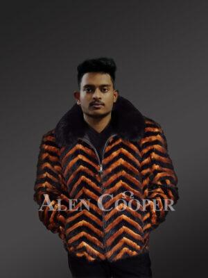 V-Cut Two Color Mink Fur Bomber for Men's With Fox Fur Collar